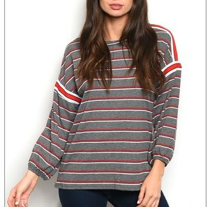 Charcoal + red stripe casual long sleeve tunic top
